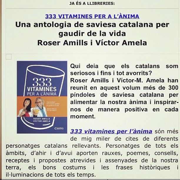 333 vitamines per a lanima de roser amills i victor amela nota de premsa