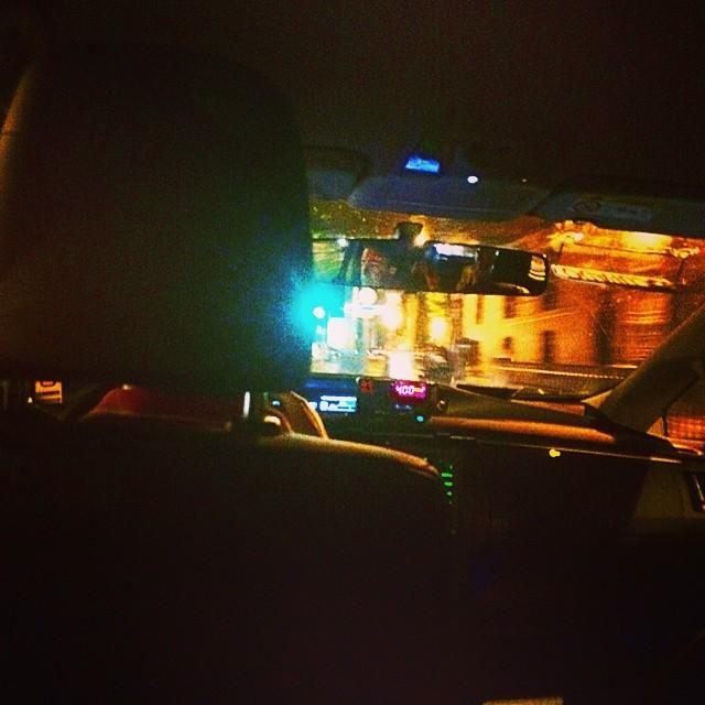 foto desde el taxi luces de barcelona