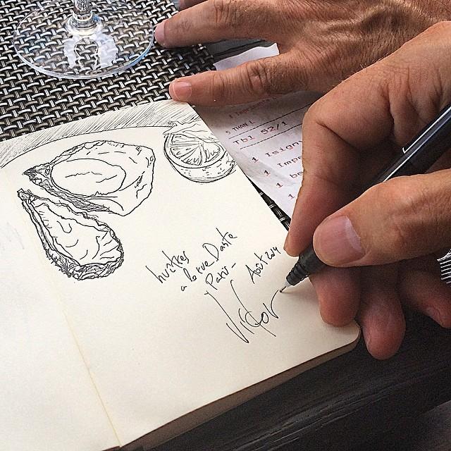 victor amela dibuja ostras en paris foto de roser amills