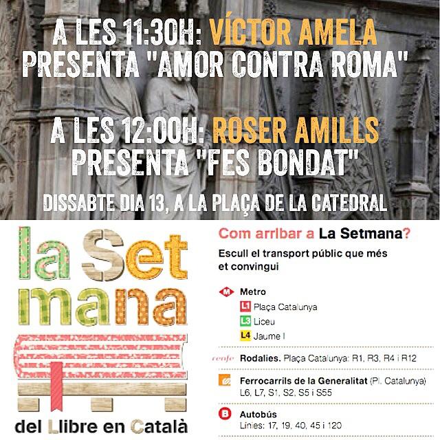 Dissabte tenim aperitiu doble :)) Apunteu-ho a l'agenda!!! Víctor Amela i Roser Amills presenten els seus llibres a la Setmana del llibre en català