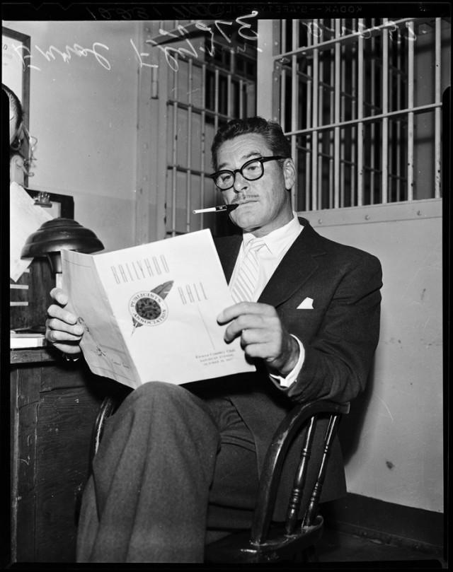 Errol Flynn under arrest. Reads. October 19, 1957