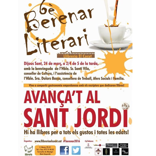 Sant Jordi per #SetmanaSanta: demà, 80 autors signarem al berenar de @ElCucutllibre; també hi tindreu #Labachillera ;))