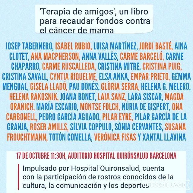 Participo en #terapiadeamigos contra el #cancerdemama y lo presentamos el lunes!!