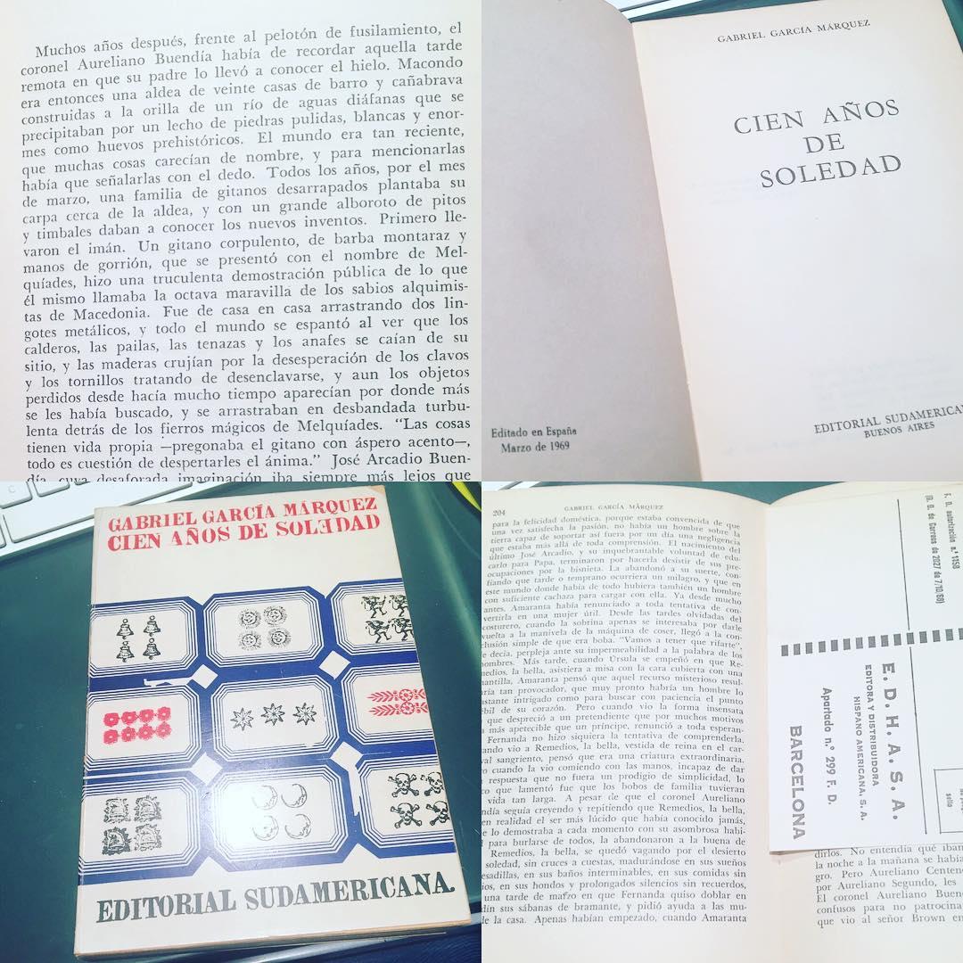 Mi biblioteca es así de mágica. Un día os cuento cómo llegó, hace más de 20 años, esta 1å edición española de #cienañosdesoledad