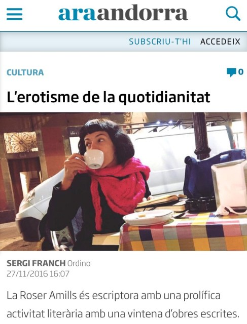 Entrevista a Roser Amills ARA Andorra