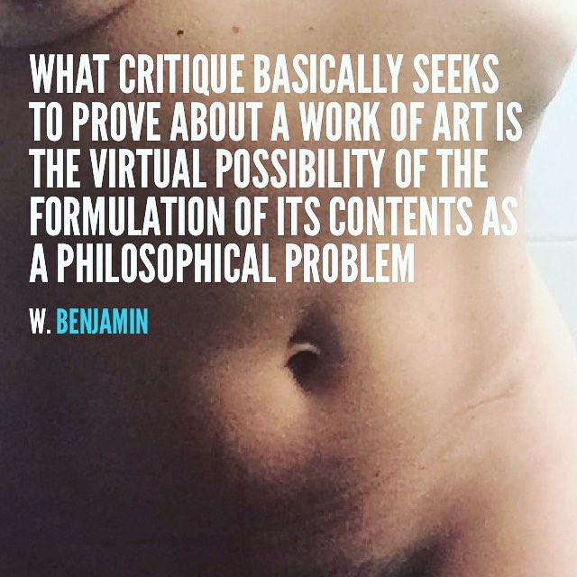 What critique basically seeks to prove about a work of art is the virtual possibility of the formulation of its contents as a philosophical problem.(W. Benjamin) #amillspublicwc