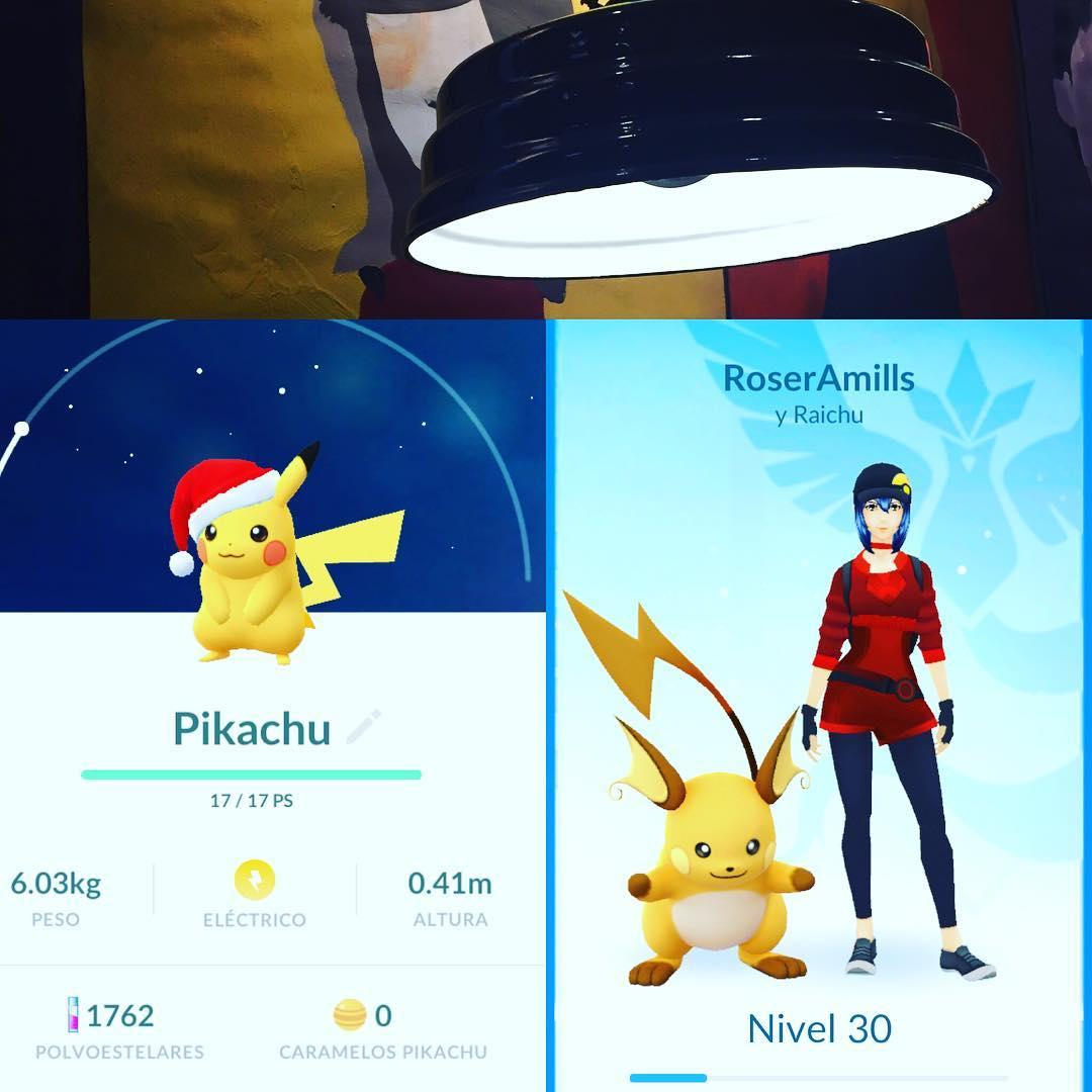 So pikachu has a Santa hat 😳#PokemonGO #christmaspikachu ;))