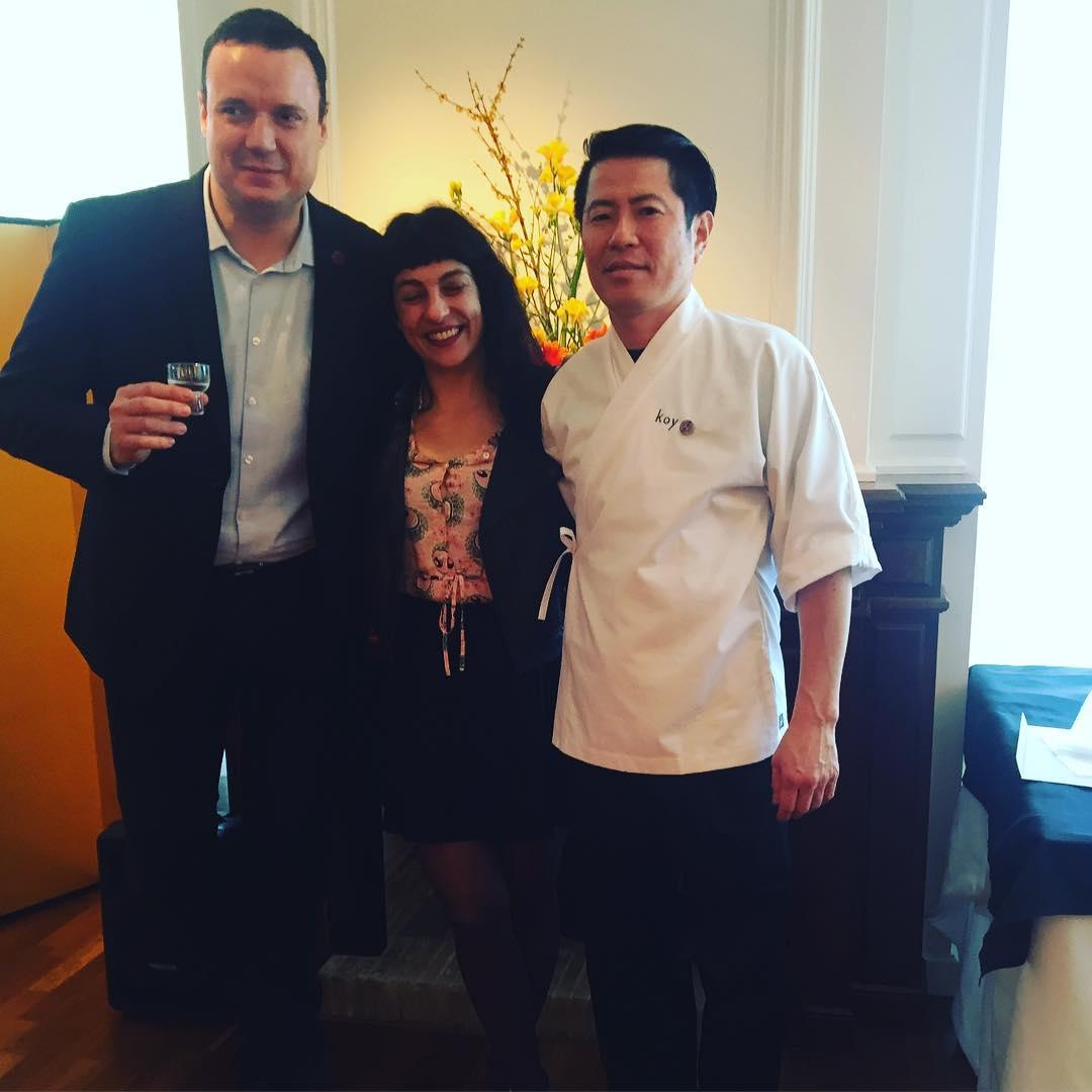 Con los ojos cerrados de alegría, con @comerjapones y Hideki Matsuhisa, los dos Embajadores de la Gastronomía Japonesa 2017 #KoiShunka #Barcelona #Japanese
