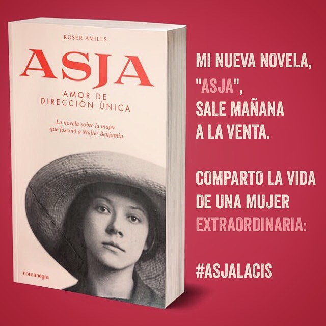 "Mi nueva novela, ""Asja"", sale mañana  a la venta. Comparto la vida  de una mujer  extraordinaria: #AsjaLacis"