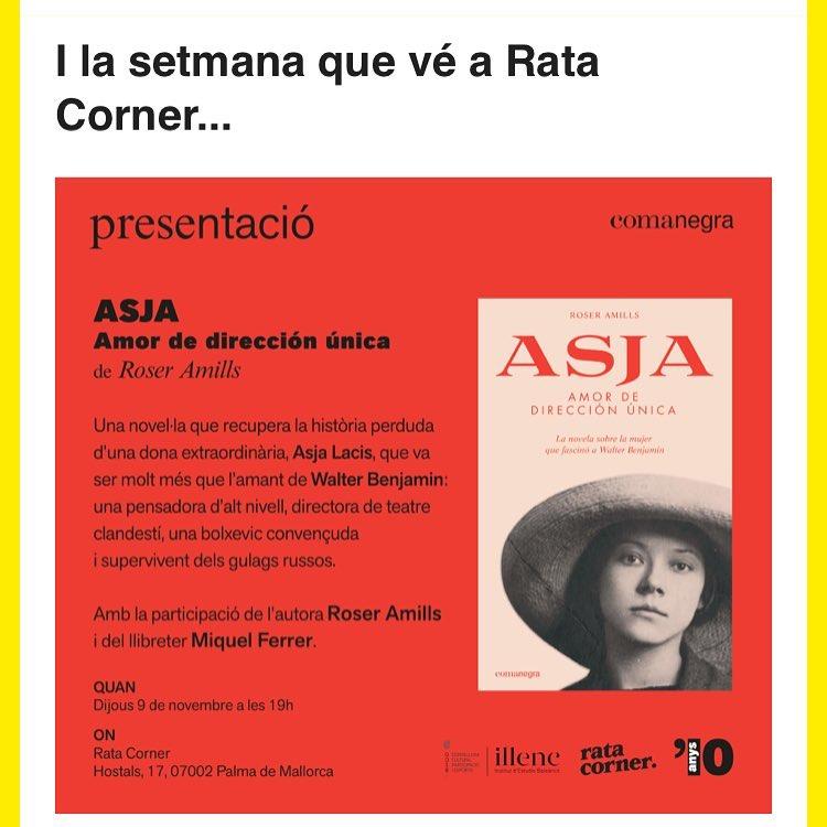 Uep! Dia 9 seré a Mallorca, a @ratacorner Feis el favor de venir, ho passarem mel!!! A les 7 de s'horabaixa, #asjalacis amb tots voltros 📚
