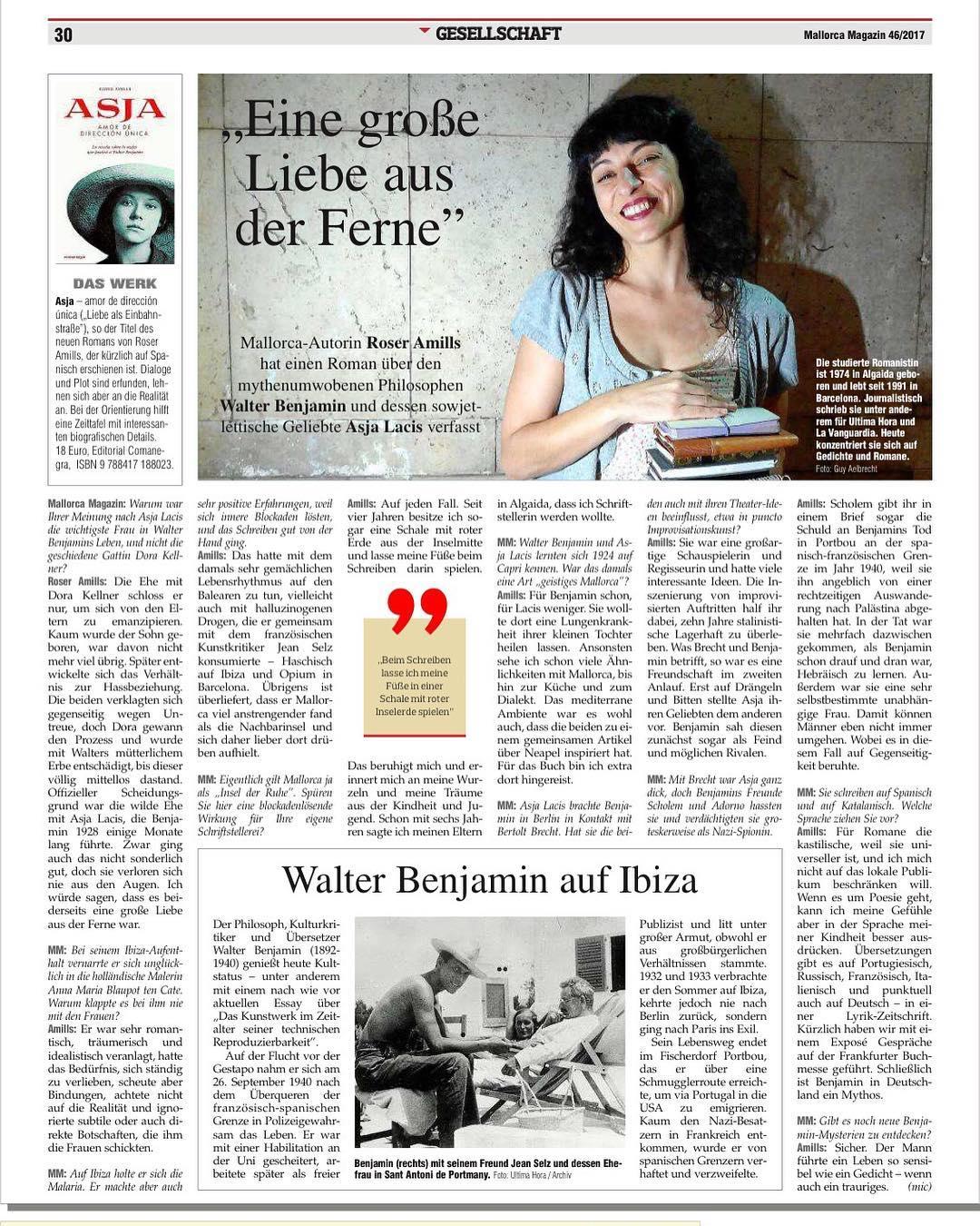 Una entrevista en alemán sobre #asjalacis & #walterbenjamin que me ha hecho muy feliz. Gracias @mallorca.magazin [la foto es de @albertocalaf ]