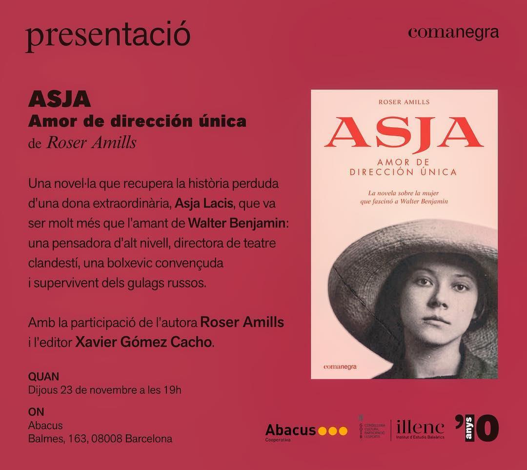 FESTA avui dijous, a BARCELONA, a @abacuscoop del carrer Balmes, vine a les 19h que presentarem llibre d'#aslajacis & #walterbenjamin