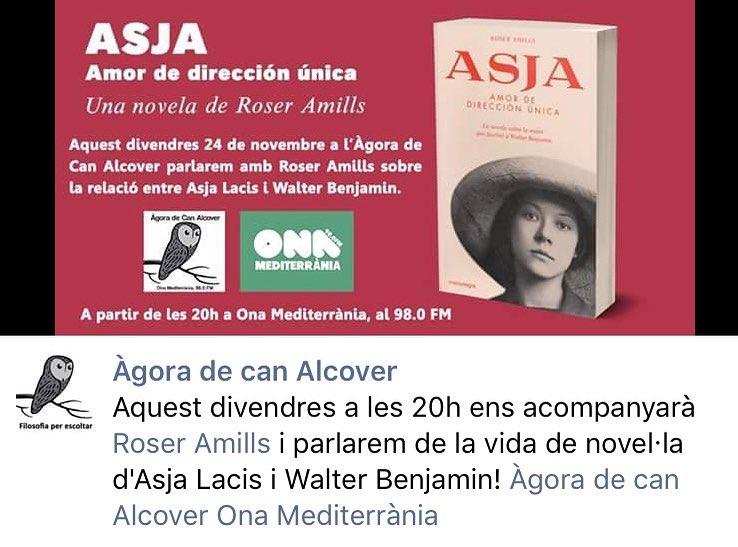 Aquest divendres seré a @onamediterrania per parlar d'#asjalacis & #walterbenjamin