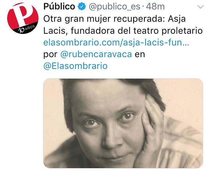 Hoy, esta gran mujer recuperada en @publico_es : #AsjaLacis por @rubencaravaca en @Elasombrario
