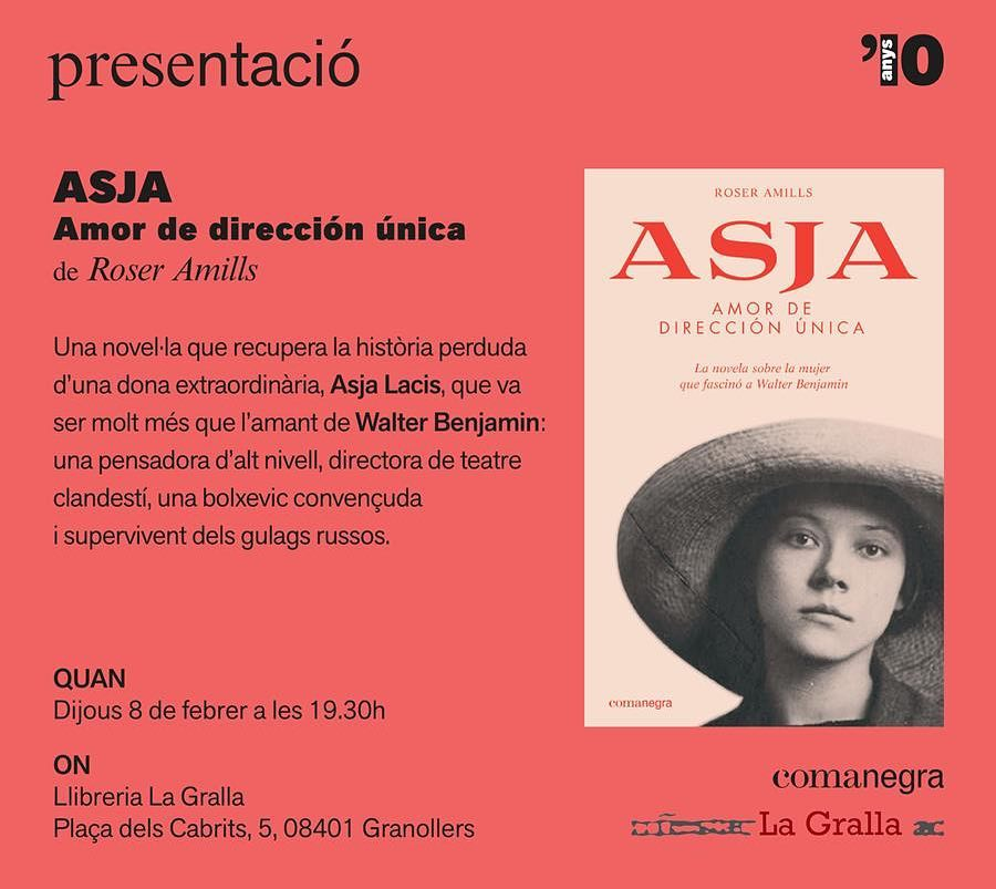 Dia 8 seré a Granollers! A la @llibrerialagralla Vindreu? #asjalacis & #walterbenjamin