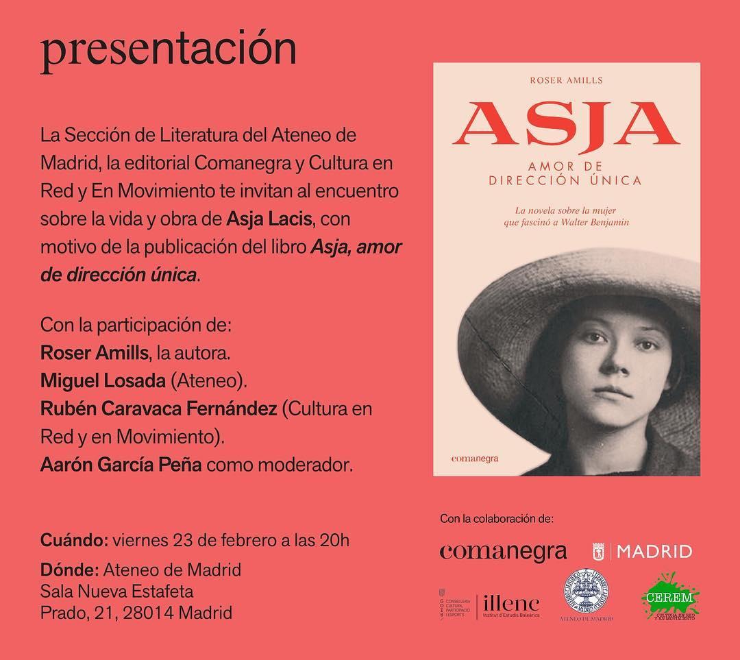 El 23F cita en Madrid para hablar sobre Asja Lacis, la novela que me acaba de publicar @Comanegra  Lugar: @ateneodemadrid Al día siguiente presentación: Librería Contrabandos C/ Amparo 76 en Lavapiés.