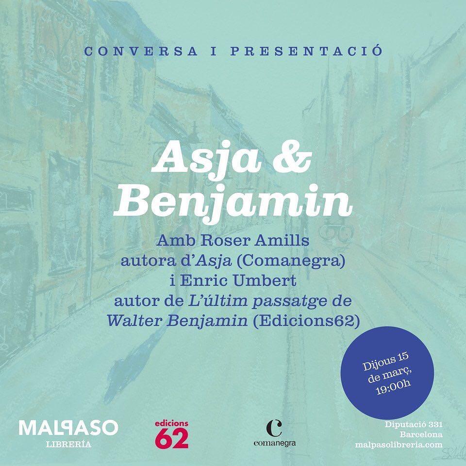 La setmana que ve seré a la @malpaso.libreria libreria amb @enricumbert per sentir les veus d'#AsjaLacis i de #WalterBenjamin . El #teatre revolucionari, la #filosofia crítica, i un amor de direcció única.  Dos llibres de @Comanegra i @Ed_62