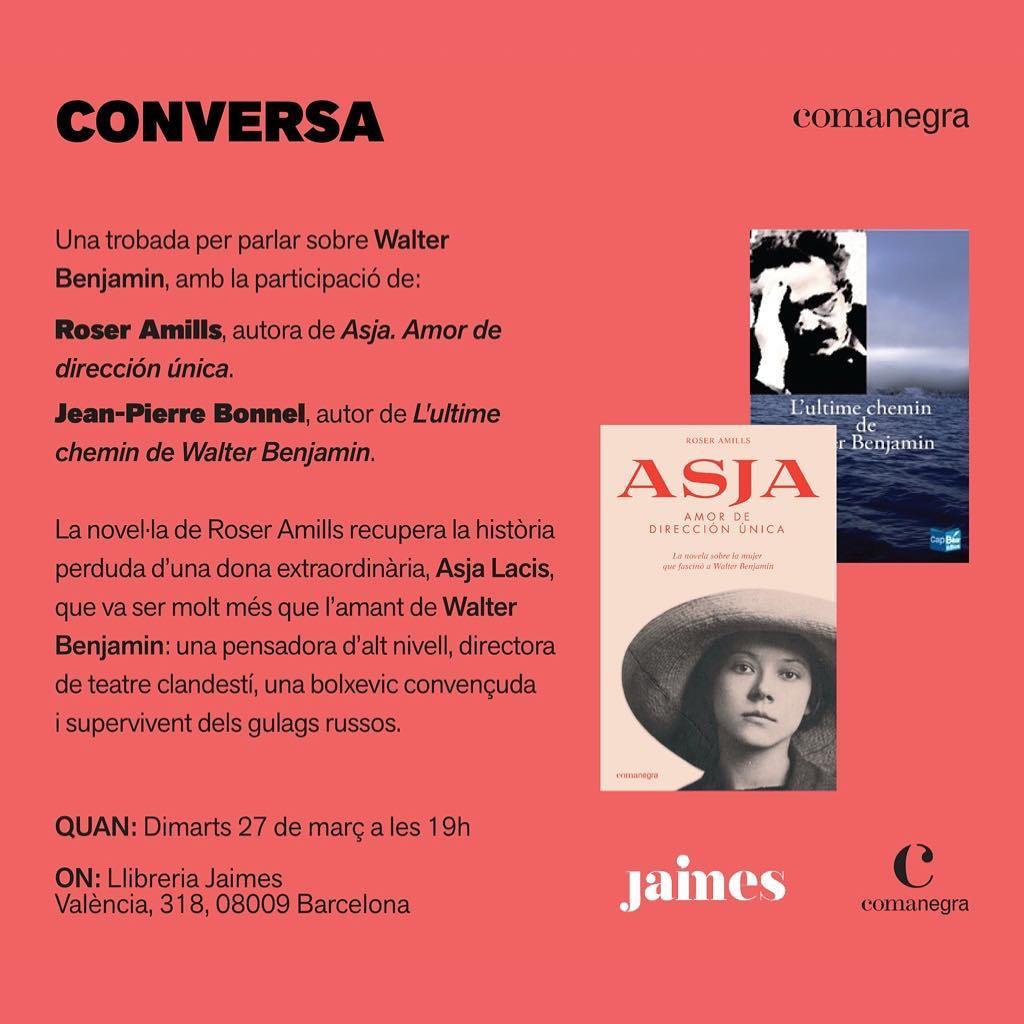 Y #asjalacis se internacionaliza: la semana que viene #jeanpierrebonnel y yo conversaremos sobre ella y #walterbenjamin en la barcelonesa @llibreriajaimes en francés, catalán y castellano. Anotadlo en la agenda!