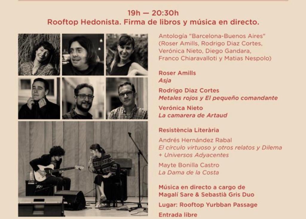 Firma de Sant Jordi + fiesta Terraza Hotel Yurbban (de 19 a 20:30h)