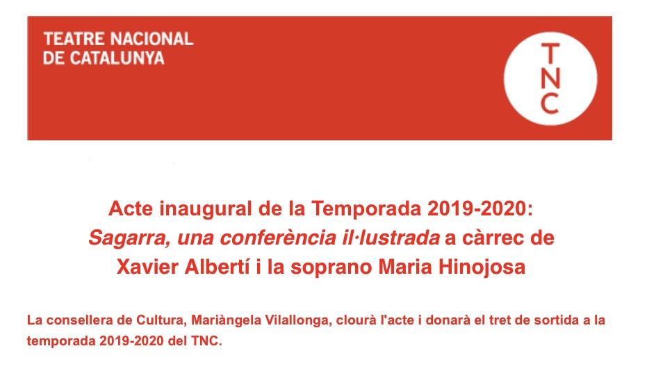 Acte inaugural de la nova temporada 2019-2020 Teatre Nacional de Catalunya