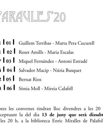 Les escriptores Maria Escalas i Roser Amills al cicle Paraules 20 de Palafolls que organitza la revista CLASP