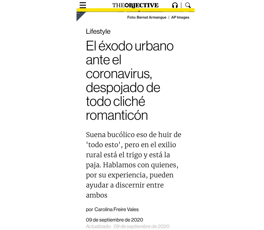 The Objective | El éxodo urbano ante el coronavirus, despojado de todo cliché romanticón