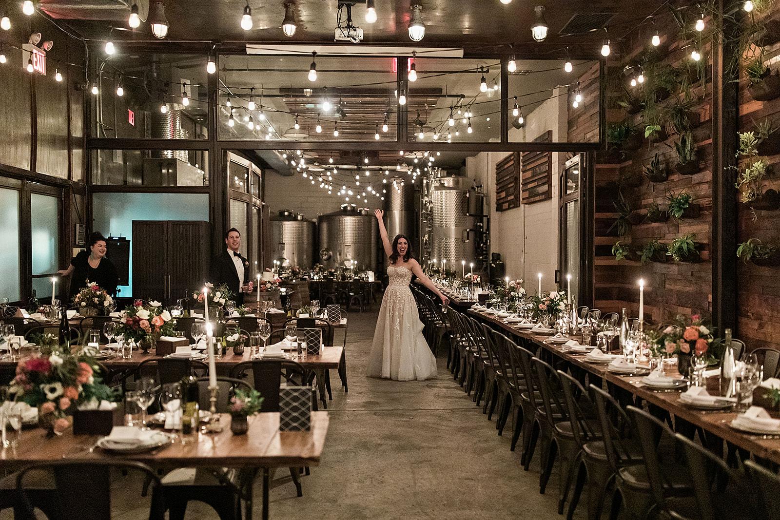 Bride Happy in the Brooklyn Winery Atrium