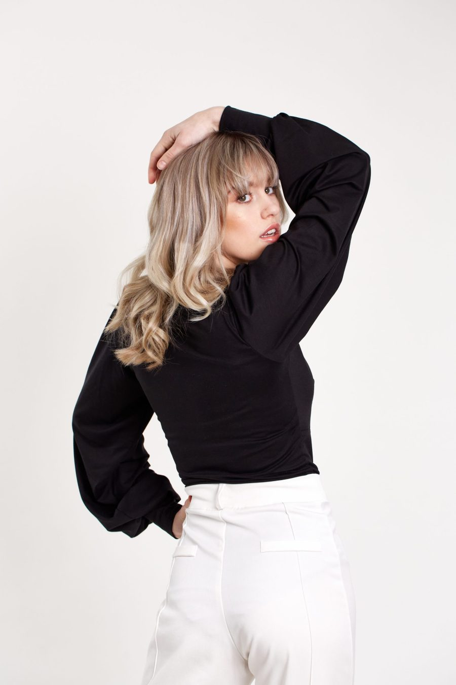Our Day One top in black from the side