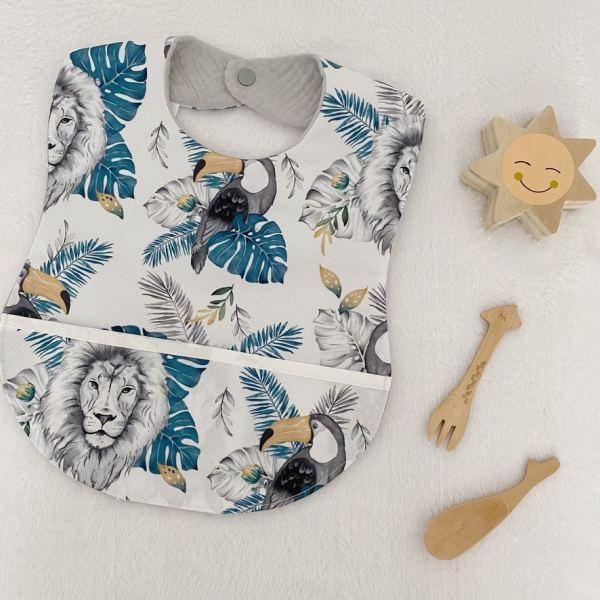 bavoir plastifié imperméable bébé en tissu enduit made in France motif lion