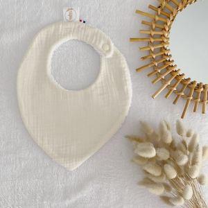 bavoir bébé naissance double gaze écru 100% made in France en coton Oeko Tex, cadeau de naissance .