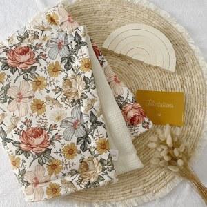 couverture double gaze fleurs vintage