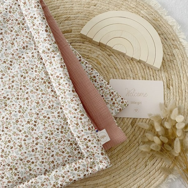 couverture bebe little flowers made in France