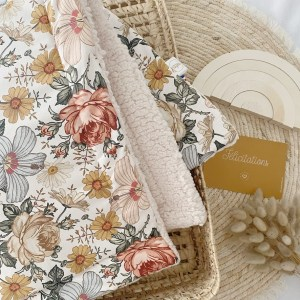 couverture minky doudou vintage flowers made in france