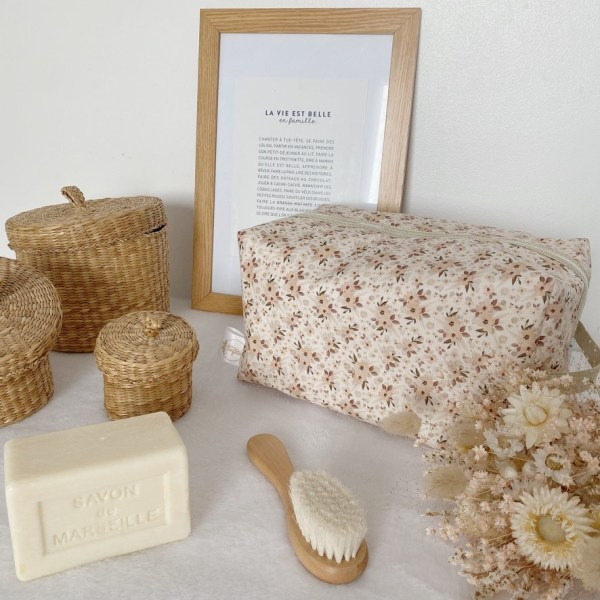 trousse de toilette vanity boho flowers