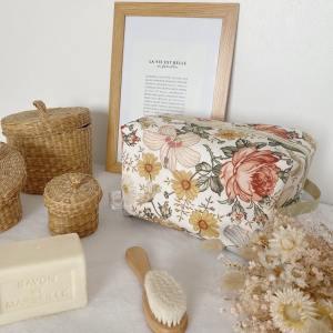 vanity trousse de toilette fleurs vintage flowers