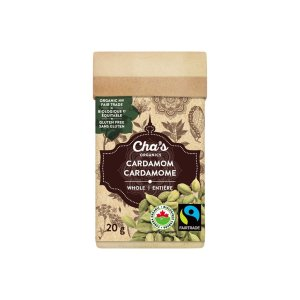 Cha's Organics whole cardamom is available on Rosette Fair Trade's online store