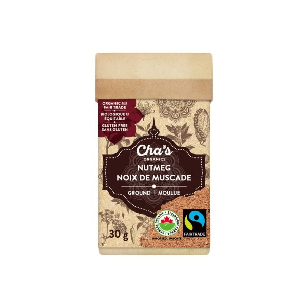 Cha's Organics ground nutmeg is available on Rosette Fair Trade's online store