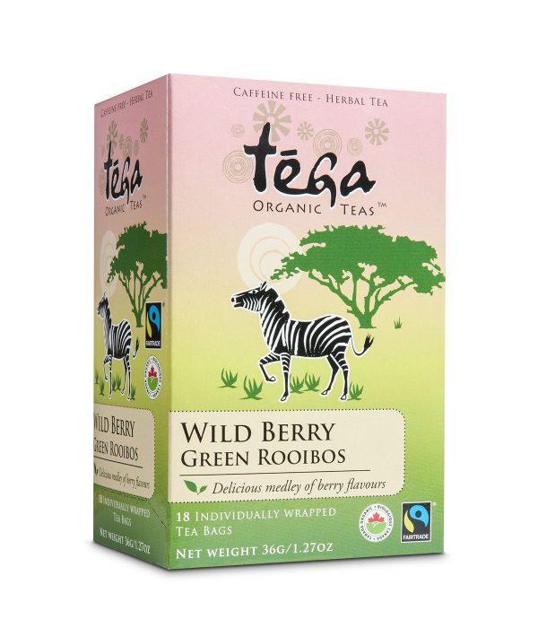 Fairtrade green rooibos wild berry by Tega Organic Tea on Rosette Fair Trade online store