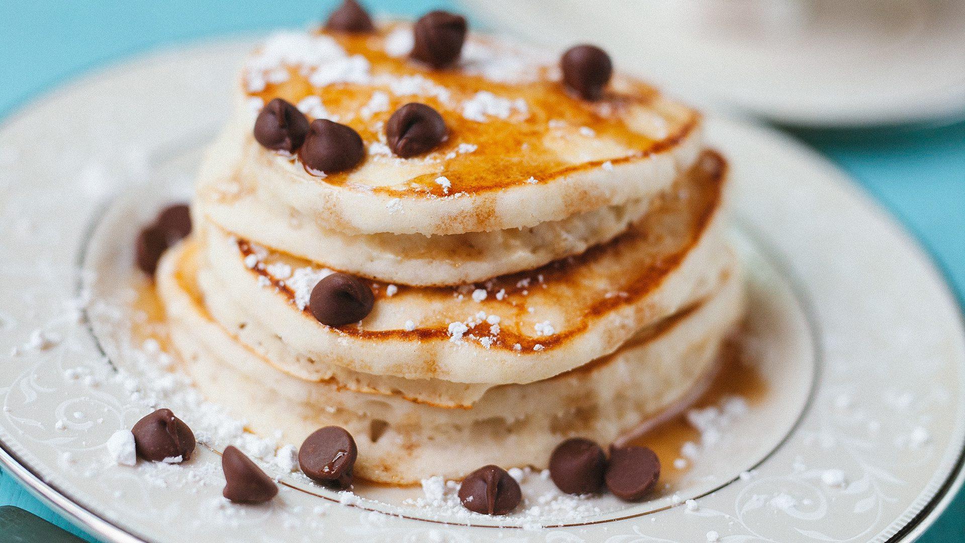 Vegan chocolate chip pancakes recipe featuring fairtrade and organic ingredients on Rosette Fair Trade