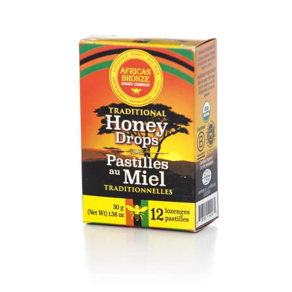 Fair trade honey lozenges by the African Bronze Honey Project (wild, organic Zambian forest honey) available on the Rosette Fair Trade online store hard candy style cough drops