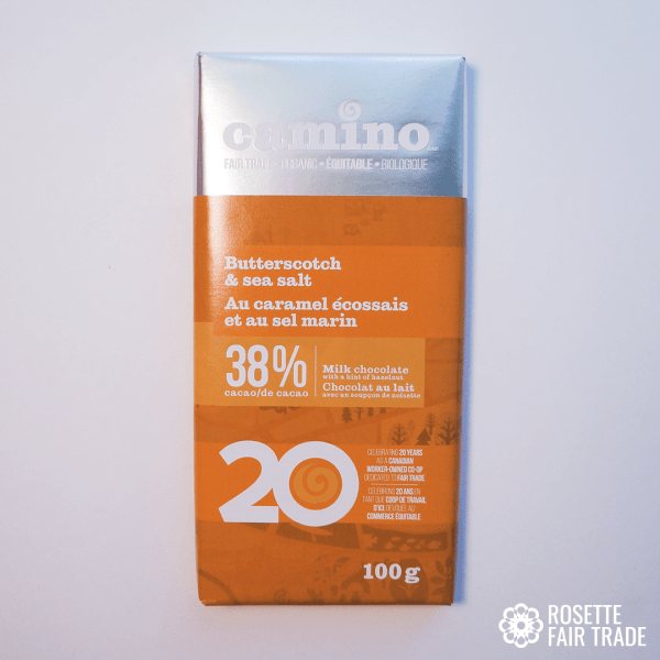 Butterscotch and sea salt milk chocolate by Camino on Rosette Fair Trade