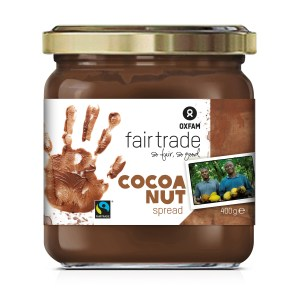 Oxfam Fair Trade chocolate hazelnut spread (similar to Nutella brand spread) on Rosette Fair Trade