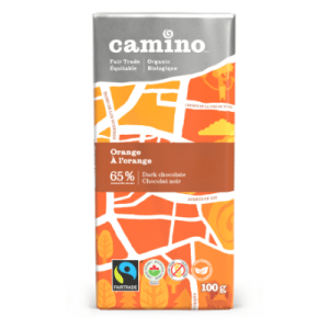 Camino dark chocolate with orange (65%) in 100g bars is available on Rosette Fair Trade