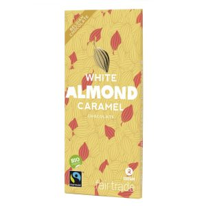 Belgian white chocolate with caramel almonds (100g) on Rosette Fair Trade online store