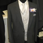 Grey one button suit coat