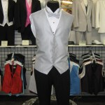 Silver full back vest and bow