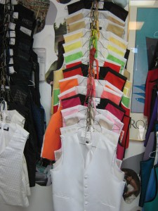 Solid color tuxedo rental vest and ties
