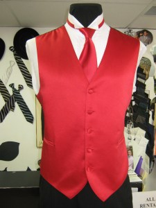Red solid best and long tie
