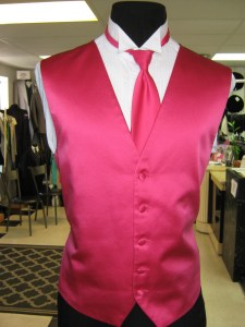Watermelon vest and tie at Rose Tuxedo for weddings and Prom