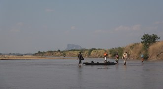 Vincent with Niassa Lion Project Scouts, Lugenda River, Niassa. Photo: Rosey Perkins